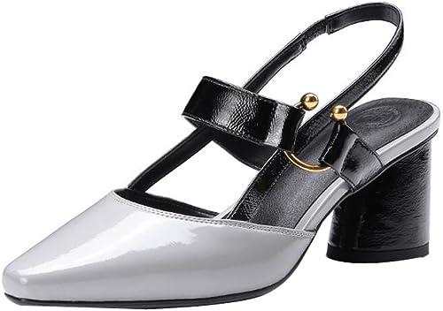 Chaussures à Talons, Chaussures Chaussures Chaussures pour Femmes, Pointues, vides, Couleurs Mélangées, Sandales, Boucle en Métal, Version coréenne, Talons Hauts en Cuir 8fb