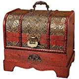 Anberotta コスメ メイクボックス ジュエリーボックス 小物入れ 化粧品 木製 アンティーク調 ケース 宝石箱 収納箱 アクセサリー ビンテージ AT29 (Aタイプ)