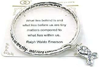 Jewelry Nexus Inspirational Hammered Ribbon Heart Bangle Bracelet Words by Ralph Waldo Emerson