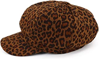 Hat Fashion Women's Fashion Wild Leopard Shopping Painter Hat Autumn and Winter Thick Beret(3 Colors, 56-58CM) Fashion Accessories (Color : Brown)