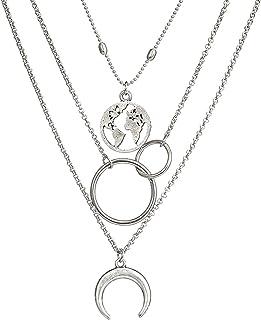 Multicouches corne Collier pendentif long croissant lune bijoux chaîne .FR