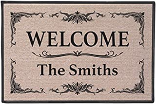 WHAT ON EARTH Personalized Custom [Your Family Name] Indoor/Outdoor Welcome Mat Doormat - Classic Design