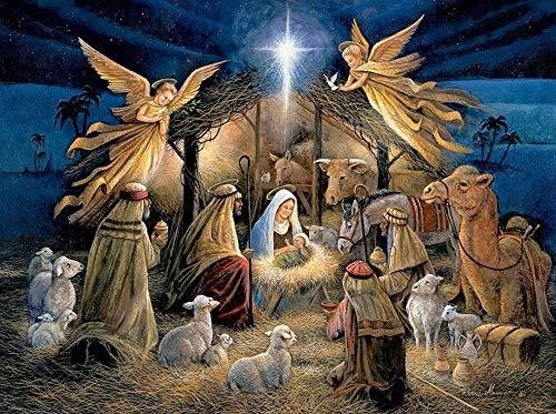RB-QPIS Kits de pintura de diamante 5D DIY, juego,'religión, nacimiento de Jesús', pintura en mosaico, decoración de pared, manualidades y regalos-Los 50x65CM