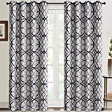 RHF Room Darkening Curtains 84 Inch Length Grommet Blackout Curtains Drapes for Living Room Grey and Navy Geo Pattern 52 inch Width by 84 inch Length-Set of 2 Panels