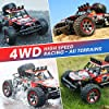 RC Cars, 1/10 Scale Large High-Speed Remote Control Car for Adults Kids, 48+ kmh 4WD 2.4GHz Off-Road Monster RC Truck, All Terrain Electric Vehicle Toys Boys Gift with 2 Batteries for 40+ Min Play #2