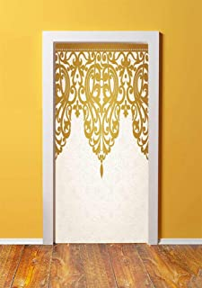 Antique Decor 3D Door Sticker Wall Decals Mural Wallpaper,Victorian Style Medieval Motifs with Classic Baroque Oriental Decorating Shapes Print,DIY Art Home Decor Poster Decoration 30.3x78.2904,Golden