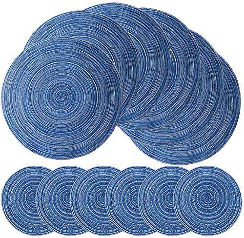 Premewish Placemats and Coasters Set of 6 Heat Resistant Non-slip Dining Table Mats Washable Place Mats Stylish Home Decor (Blue)