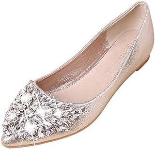 Platte schoenen voor dames, elegante schoenen voor bruiloften, ballerina's, glitters, partyschoenen met strass, pumps, vak...