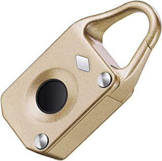 Dolity Fingerprint Padlock, USB Keyless Fingerprint Padlock Gym School Office Sports Locker,Smart Lock Travel Luggage, Backpack, Cargo, Bike, Door - Gold