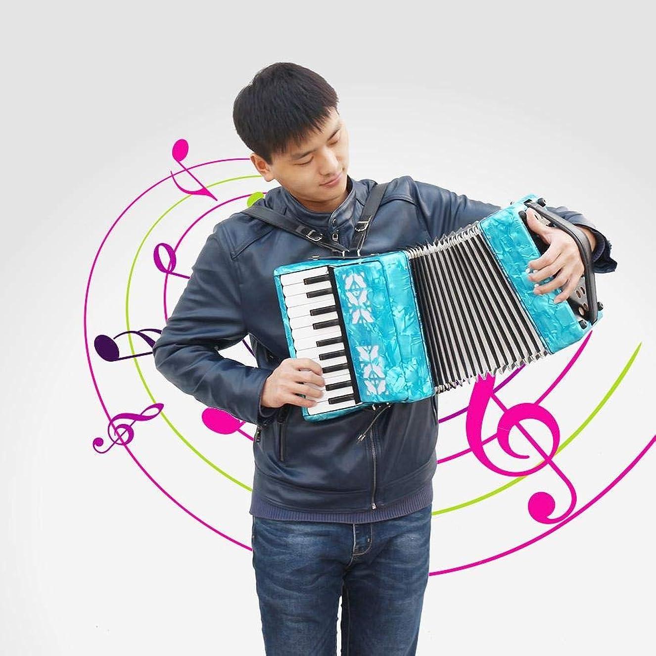 グリースホステル入力ピアノアコーディオン、初心者向けの22キー8ベースピアノアコーディオン楽器(青)