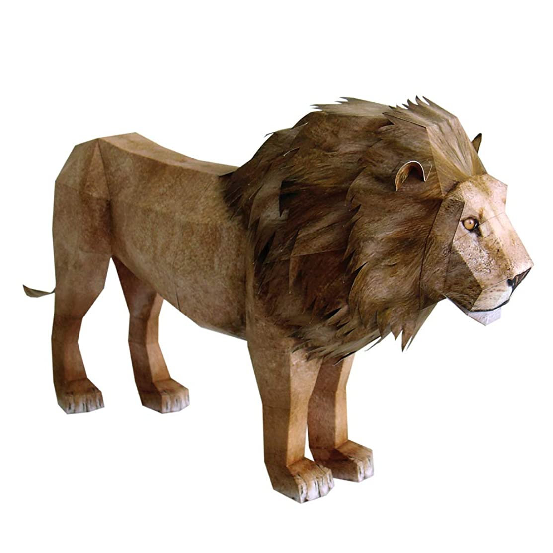 HAPPYPAPER Wild Animal Lion Low Poly DIY Papercraft Puzzle Kit for Adults & Teens - NO Scissors Needed