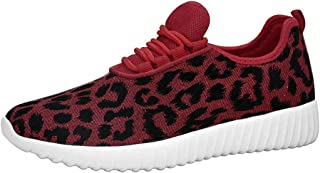 LUCKY-STEP Leopard Pattern Women Jogging Sneakers Lightweight Go Easy Walking Casual Running Shoes - Fashion Design