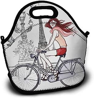 Eiffel Tower, Picnic Bag, Sundries Bag, Shopping Bag, Lunch Bag, Pattern Printing, Illustration of a Woman on Alexander III Bridge in Paris Riding a Bike, 5.5x11x11 inch, Grey Red Peach