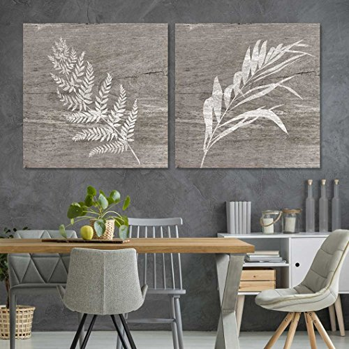 """wall26 - 2 Panel Square Canvas Wall Art - White Folliage Wood Effect Canvas - Giclee Print Gallery Wrap Modern Home Art Ready to Hang - 24""""x24"""" x 2 Panels"""