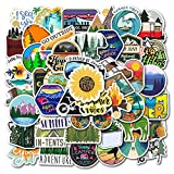 Outdoors Nature Stickers Adventure Hiking Camping Travel Wilderness Stickers Pack (50 Pcs) Suitcase Stickers Vinyl Decals for Car Bumper Helmet Luggage Laptop Water Bottle (GlibertVillageGoods)