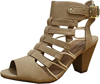 224b7379993 City Classified Womens Fashion Awesome Gladiator Strappy Chunky Block Heel  Synthetic Lightly Padded Insole Sandals