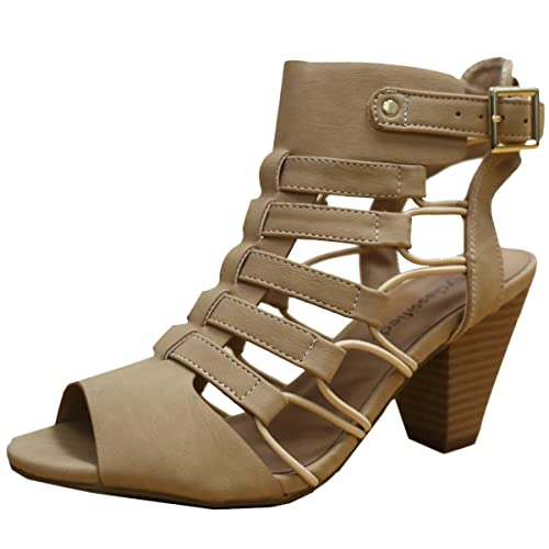 76b456103bdc City Classified Womens Fashion Awesome Gladiator Strappy Chunky Block Heel  Synthetic Lightly Padded Insole Sandals