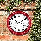 BEW Wanduhr, 45 cm, mit Thermometer und Hygrometer, groß, wasserdicht, geräuschlos, ideal für Garten, Zaun, Terrasse, Lanai, Garage und Innenbereich, metall, Empire Rot, 45 cm