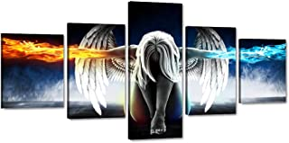 5 Panels Canvas Wall Art Fire and Ice Angel Wings of Contemporary Girl Painting Abstract Woman Pictures Posters and Prints Artwork Decor for Living Room Bedroom Office Framed Easy to Hang (50