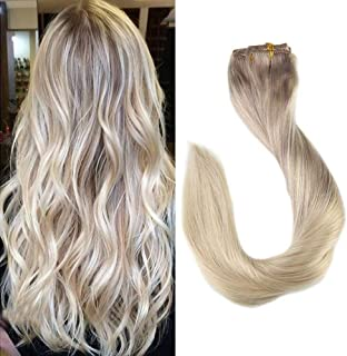 Full Shine 22 Inch 9 Pcs 120 Gram Remy Clip in Human Extensions Nordic Balayage Ombre Color #18 Fading to #22 and Color #60 Full Head Clip in Extensions Straight Human Hair Extensions