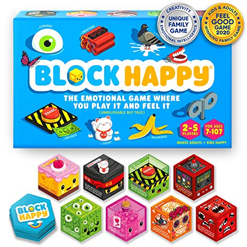Block Happy - Feel it - Hilarious Real Emotions Game Best Board Game for Families, Kids Teens & Adults Childrens Board Game Funny Family Card Game Strategic Party Game Kids Board Game for Girls & Boys