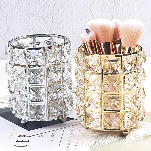 1pc multi-usage en cristal de stockage Support de maquillage brosse cosmétiques Organisateurs Crayon Bucket Pen Support de rangement Container (Color : Silver)
