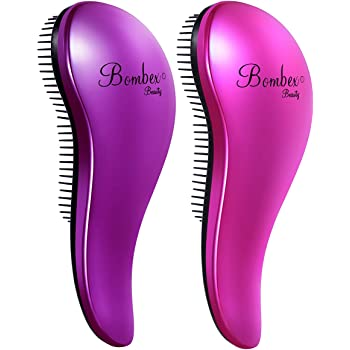 BOMBEX Detangling Brush - 2-Piece Value Set - Wet Detangling Hair Brush,Professional No Pain Detangler for Women,Men,Kids,Purple & Pink
