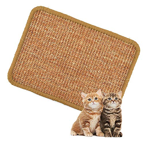 TIEMORE Alfombrilla rascadora para Gatos, Sisal Natural Alfombrilla rascadora para Gatos Alfombrilla raspadora Garras abrasivas para Gatos para Proteger Muebles