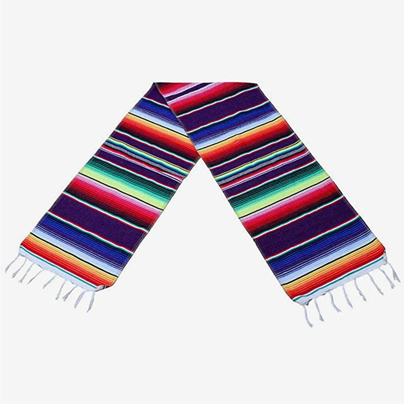 Tinsow Mexican Table Runner Mexican Serape Blanket Cotton Colorful Fringe Table Runners For Mexican Wedding Party Kitchen Outdoor Decorations