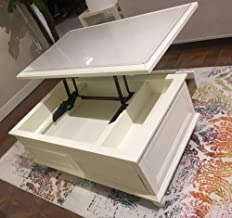 Lift-Top Coffee Table with Drawers, Wood and Metal Cocktail Table with Storage Shelf and 2 Drawers for Living Room,White