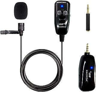XIAOKOA Mobile Phone Microphone, Wireless Microphone Lavalier Microphone UHF Wireless Microphone, 50M Wireless Transmissio...