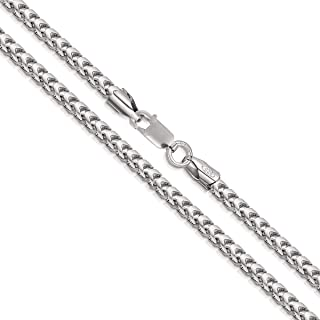 Orostar Sterling Silver 3MM Franco Square Box Link Chain Necklace, 16-30 Inch