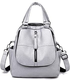 Fashion Sport Girl Backpack Travel School Shoulder Bag Daypack (Color : Silver)