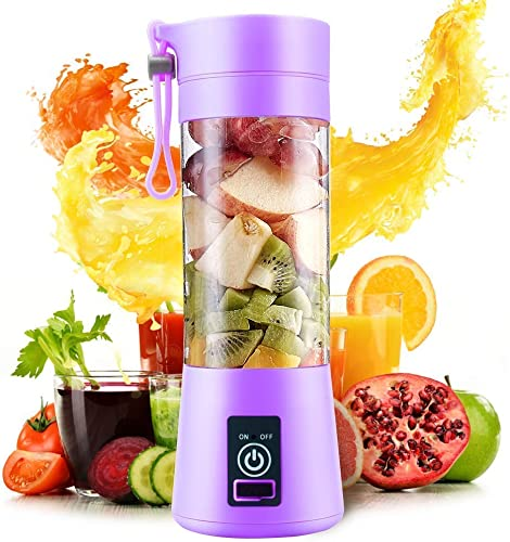 HONEY BONEY Portable Blender Personal Size Electric Rechargeable USB Juicer Cup Fruit Mixer Machine with 4 Blades for Home and Travel 380 ml Multicolor