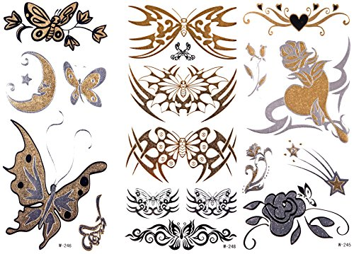 GOLD Tattoo Flash Tattoos Vlinders set 18 motieven ook bloemen en tribals W-245 + 6 + 8