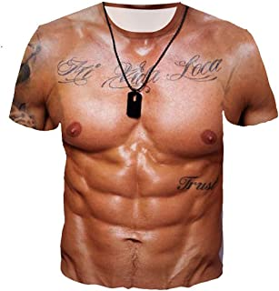 PD Men's Funny 3D Muscle Tattoo Print Short Sleeve T-Shirts Muscle Six Pack Abs T-Shirt