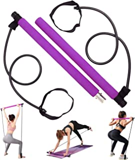 WUPYE Pilates Bar Kit with Exercise Resistance Band, Portable Purple Pilates Exercise Stick with Foot Loop for Full Body W...