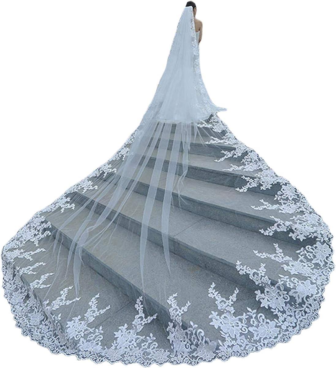 Big floral lace wedding veil,lace royal veil,lace cathedral veil lace chapel veil R218,vintage flowery cathedral veil floral long lace veil