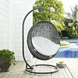 Modway EEI-2273-GRY-WHI Hide Wicker Outdoor Patio Swing Egg Chair Set with Stand, Gray White