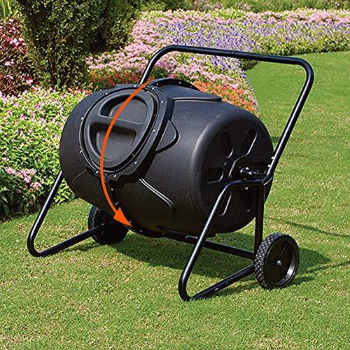 Best Buy! FMXYMC Garden Compost Cart Bin, Large 115 Gallon Capacity Compost Tumbler, Sturdy Steel Fr...