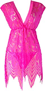 IngerT Women's Elegant Mesh Nightwear Deep V Neck Backless Sexy Babydolls with Thong Set