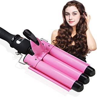 3 Barrel Curling Iron, Hair Waver Crimper Hair Iron Beach Waves 1 Inch Hair Curling Iron Ceramic...