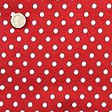 Medium, Rot gepunktet, M, 7 mm, Weiß, 100% Baumwolle.