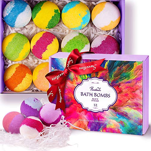 Plantonic Bath Bombs Gift Set 12 Handmade Vegan Essential Oil Natural Fizzies Spa Kit for...