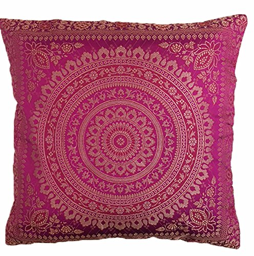 KIKAN Indian patchwork mandala sari ethnic silk Banarsi cushion covers mandala 16'x16' (pink)