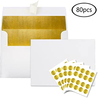 JPSOR A7 Gold Foil-Lined Invitation Envelopes, Ivory Outside, 5 x 7 Inches, 80pcs Envelopes with 80 Pieces Gold Foil Stickers for Weddings, Parties, Graduations, Birthday Invitations