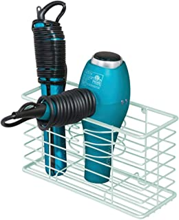 mDesign Farmhouse Metal Wire Bathroom Wall Mount Hair Care & Styling Tool Organizer Storage Basket for Hair Dryer, Flat Iron, Curling Wand, Hair Straightener, Brushes - Holds Hot Tools - Mint Green