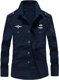 TEBAISE Mens Autumn Casual Military Cargo Slim Button Long Sleeve Dress Shirt Top Blouse