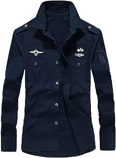 MHC~KJ Mens Autumn Casual Military Cargo Slim Button Long Sleeve Dress Shirt Top Blouse
