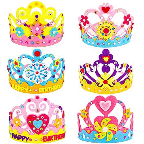 CYSJ Kit Manualidades Niños DIY Corona, 6PCS Sombrero De Corona De Princesas DIY Headwear,Niña Princesa Fiesta De Cumpleaños avorece El Juego De Simulación,Juguetes Creativos para Y Manualidad